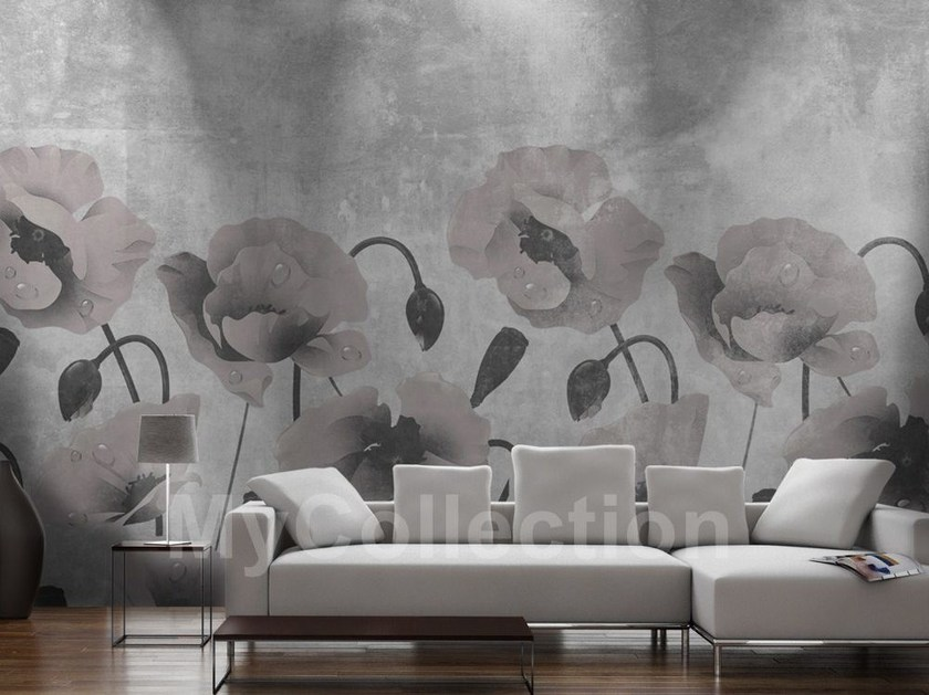 Wall-effect with floral pattern PAPAVERI by MyCollection.it