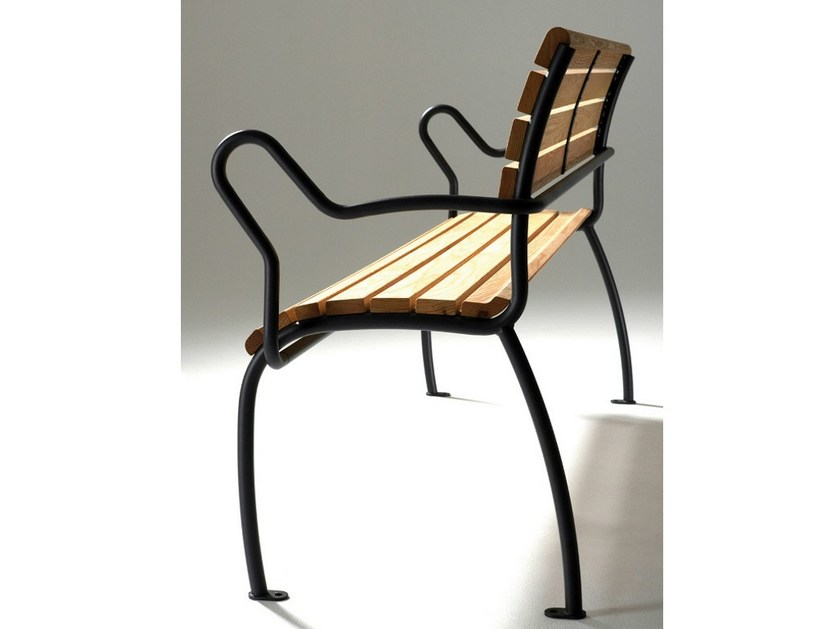 Wooden Bench with armrests ACCESS by Nola Industrier