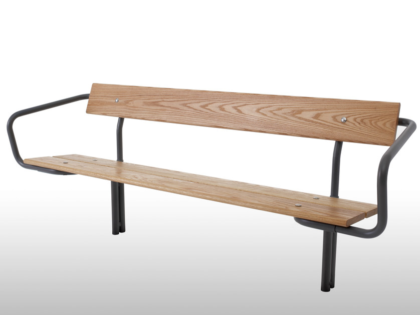 Steel and wood Bench with back BUDGET | Bench by Nola Industrier