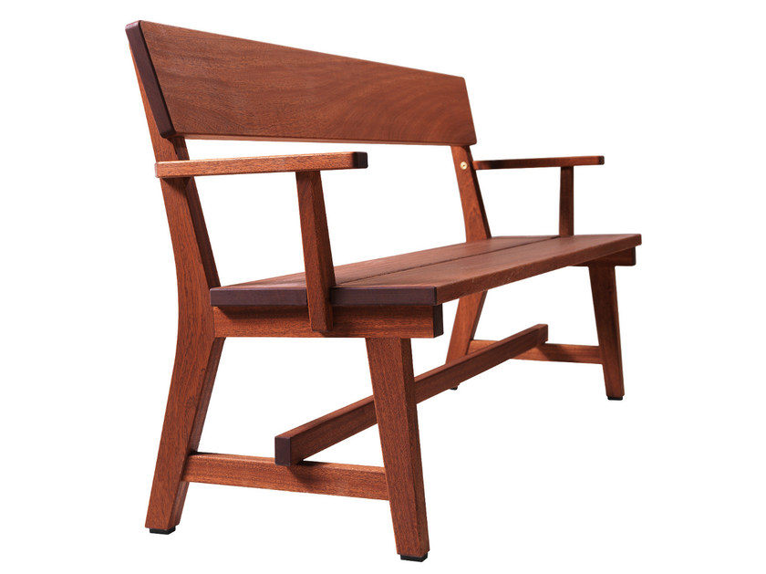 Wooden Bench with armrests HJORTHAGEN | Bench by Nola Industrier
