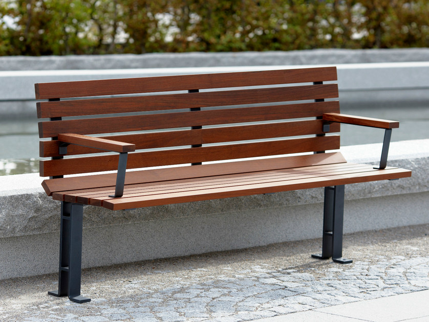 Wooden Bench with armrests KAJEN | Bench with armrests by Nola Industrier