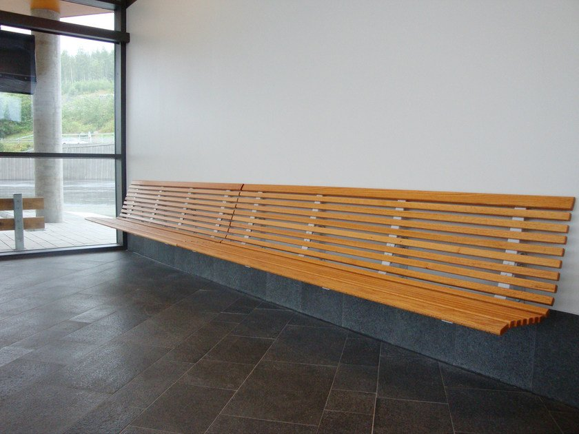 Wall-Mounted wooden Bench with back NO2 | Wall-Mounted Bench by Nola Industrier