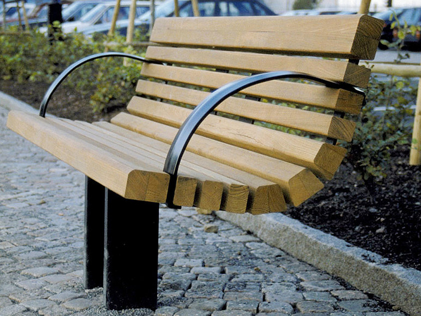 Steel and wood Bench with back SAKURA   Bench by Nola Industrier