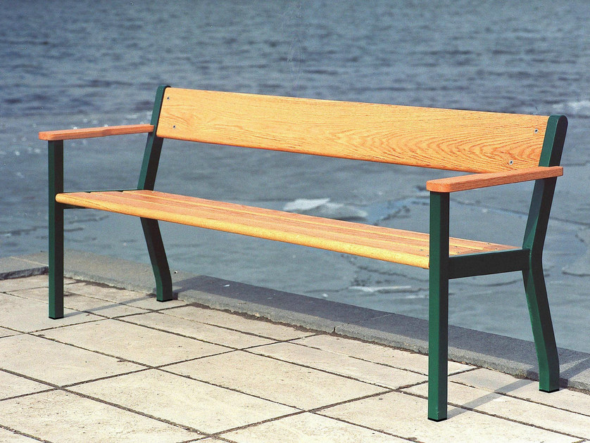 Wooden Bench with armrests SJÖSTAD by Nola Industrier
