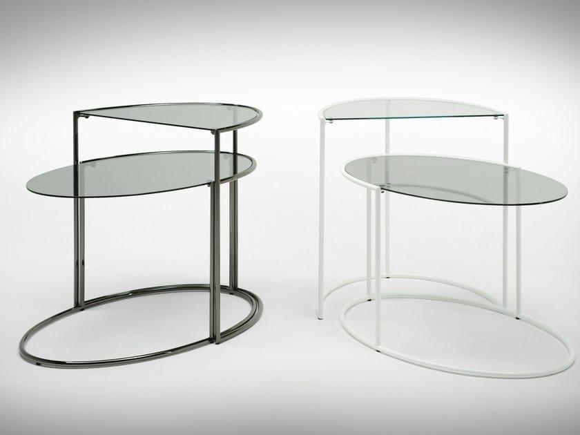 Crystal and steel coffee table EGGS by F.lli Orsenigo
