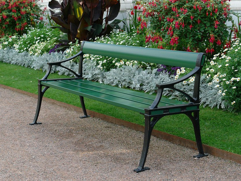 Wooden Bench with armrests TESSIN by Nola Industrier