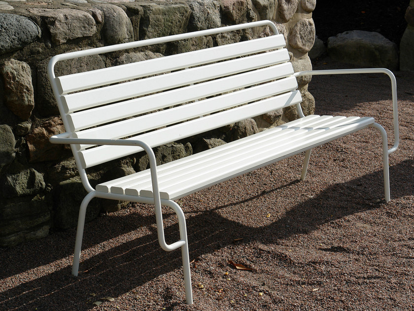 Steel Bench with back TUBEN   Bench by Nola Industrier