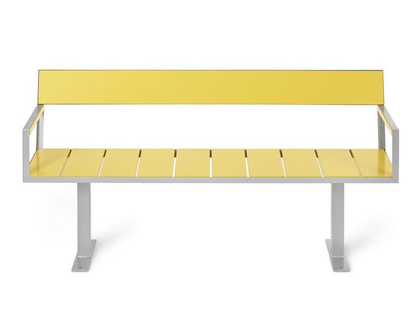 Steel Bench with back SIDEWALK | Bench by Nola Industrier