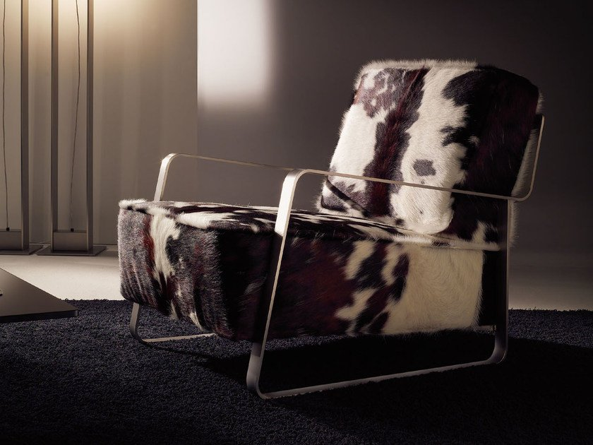 Upholstered horse hide armchair with armrests FUJIYAMA | Horse hide armchair by F.lli Orsenigo