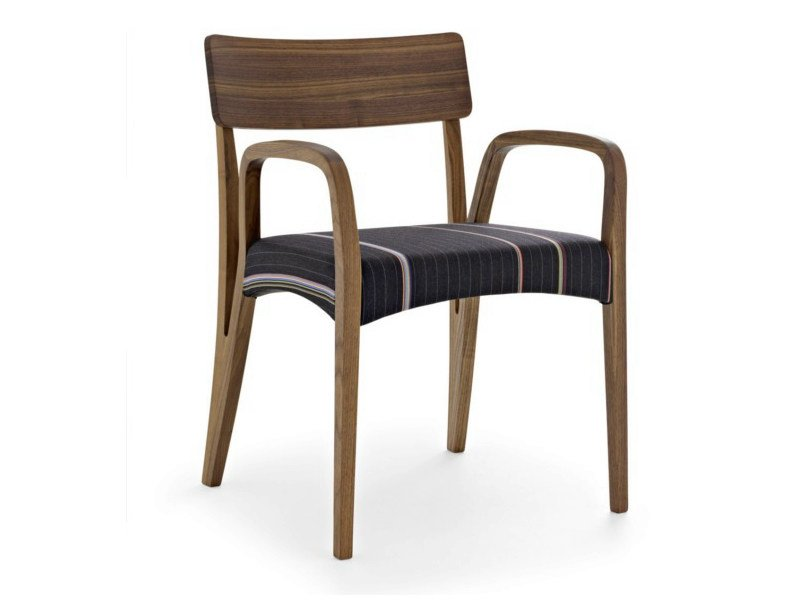 Solid wood chair with armrests MORAAR PAUL SMITH by Passoni Nature