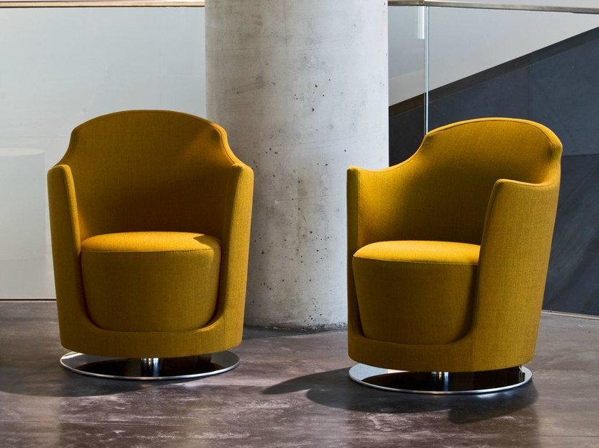 Swivel fabric armchair with armrests FOLIES | Swivel armchair by La Cividina