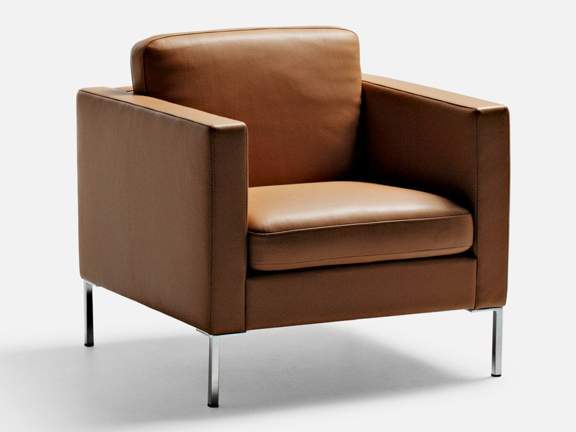 Leather lobby chair with armrests ANYTIME | Armchair by La Cividina