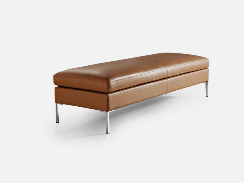 Backless leather bench seating ANYTIME | Bench by La Cividina