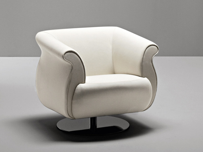 Swivel fabric guest chair with armrests GENESIS | Swivel armchair by La Cividina