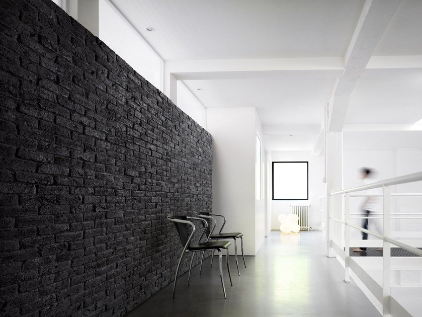 Reconstructed stone wall tiles BRIQUE BLACK & WHITE by ORSOL
