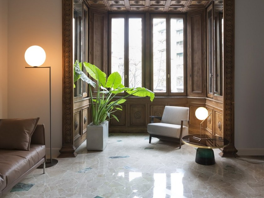 Brass floor lamp ic lights f by flos design michael anastassiades