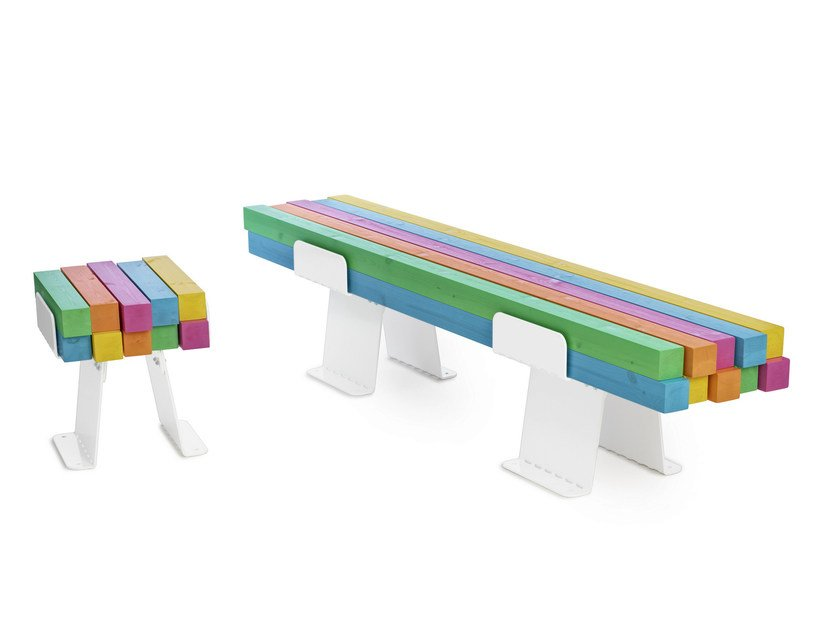 Steel and wood bench seating PYLON by Nola Industrier