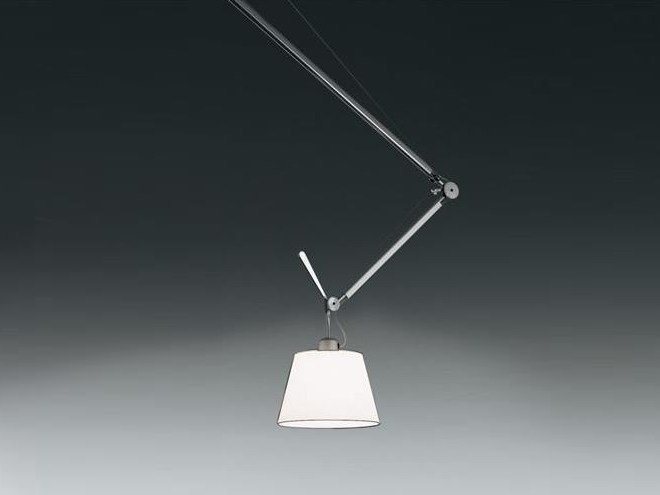 Direct light halogen swivel satin pendant lamp TOLOMEO DECENTRATA SUSPENSION | Satin pendant lamp by Artemide