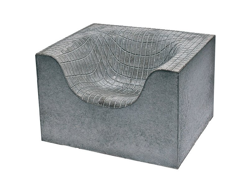 Concrete garden armchair with armrests CONCRETE THINGS by Nola Industrier
