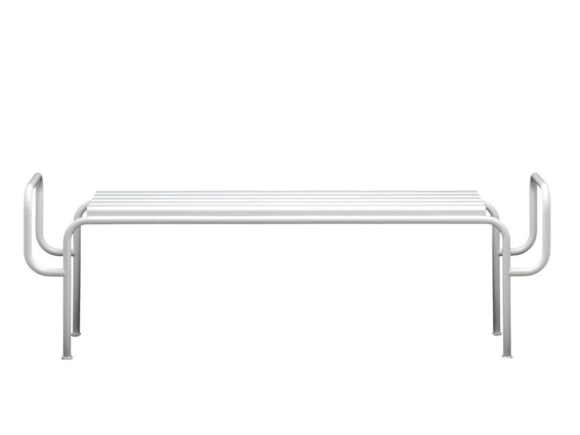 Backless steel and wood Bench TUBEN | Backless Bench by Nola Industrier