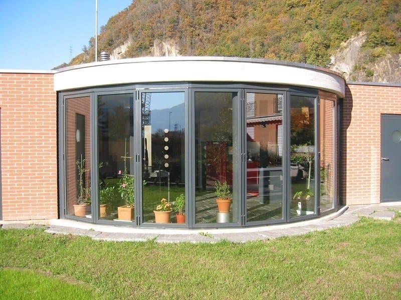 Thermal break folding aluminium glass facade KF70 S by FRUBAU