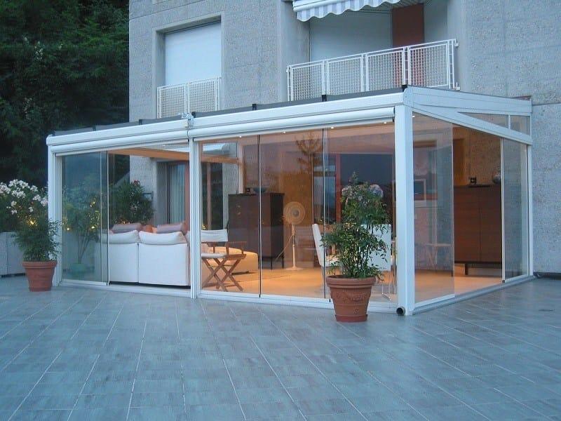 Sliding aluminium glass facade STV TUTTO VETRO | Sliding glass facade by FRUBAU