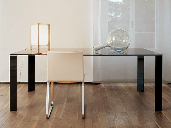 Rectangular glass and steel table JEAN RECTANGULAR by Sovet italia