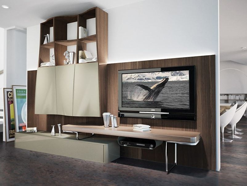 Wall-mounted storage wall with integrated lighting LALTROGIORNO 802 by TUMIDEI