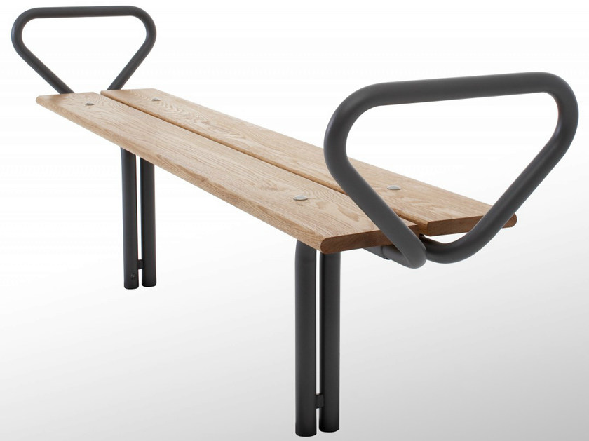 Backless steel and wood Bench BUDGET | Backless Bench by Nola Industrier