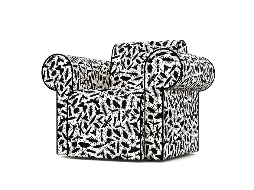 Upholstered Dacron® armchair with armrests LABYRINTH CHAIR INSECT by moooi