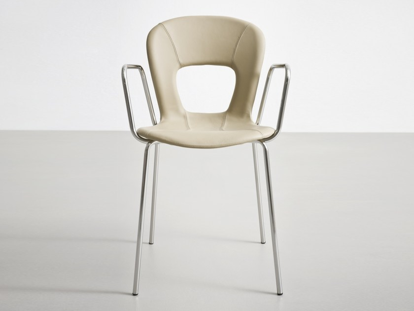 Stackable leather chair with armrests BLOG TB by GABER