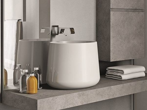 Countertop ceramic washbasin CUBIK CATINO by Idea
