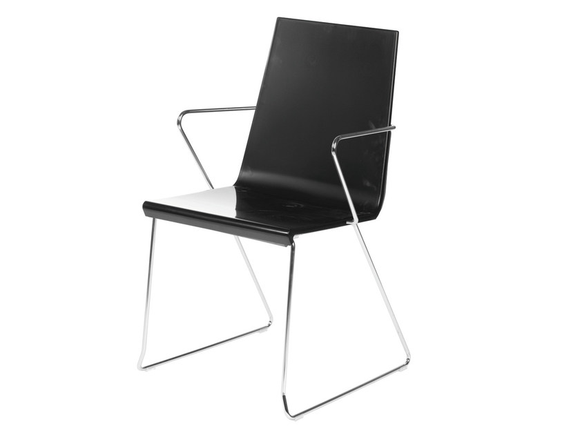 Sled base chair with armrests SNAKE 46 by GABER