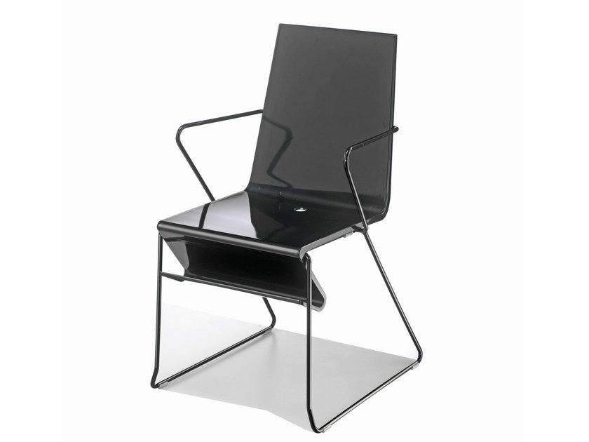 Sled base chair with armrests SNAKE 45 by GABER