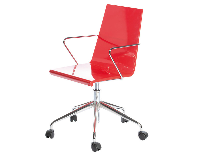 Chair with 5-spoke base with armrests with casters SNAKE 46 5R by GABER