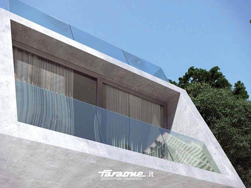 Glass and aluminium balustrade NINFA SLOPING by FARAONE