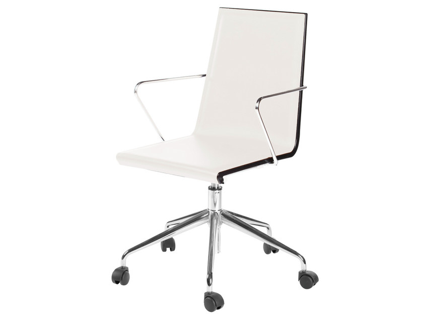 Chair with 5-spoke base with armrests with casters SNAKE 47 5R by GABER
