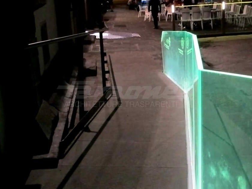 Parapetto in alluminio e vetro NINFA LED by FARAONE