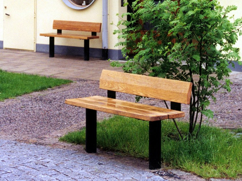 Wooden Bench with back CITY | Bench with back by Nola Industrier