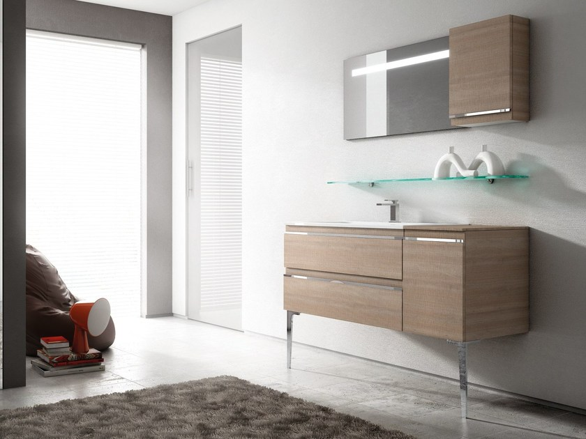 Vanity unit with drawers with mirror MISTRAL | Vanity unit by Idea