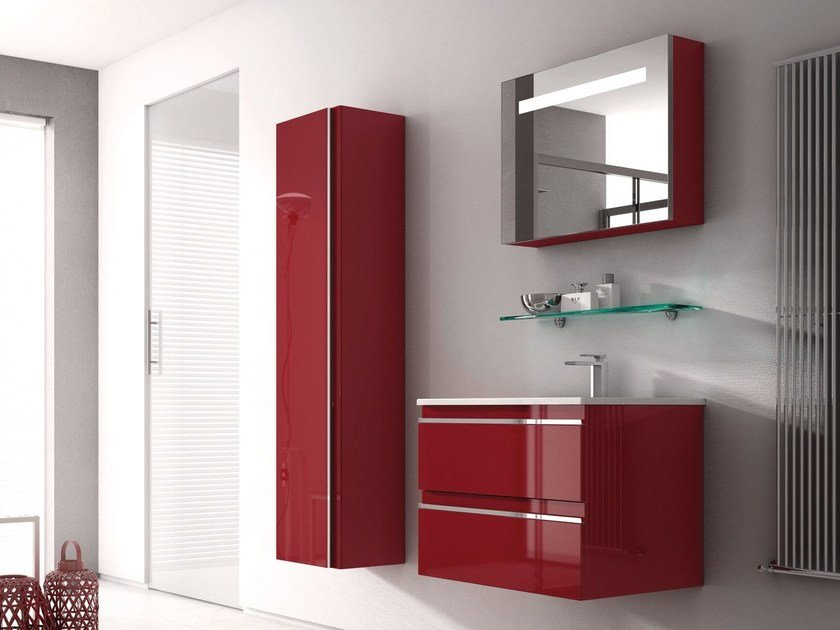 Lacquered wall-mounted vanity unit MISTRAL COMP 03 by Idea