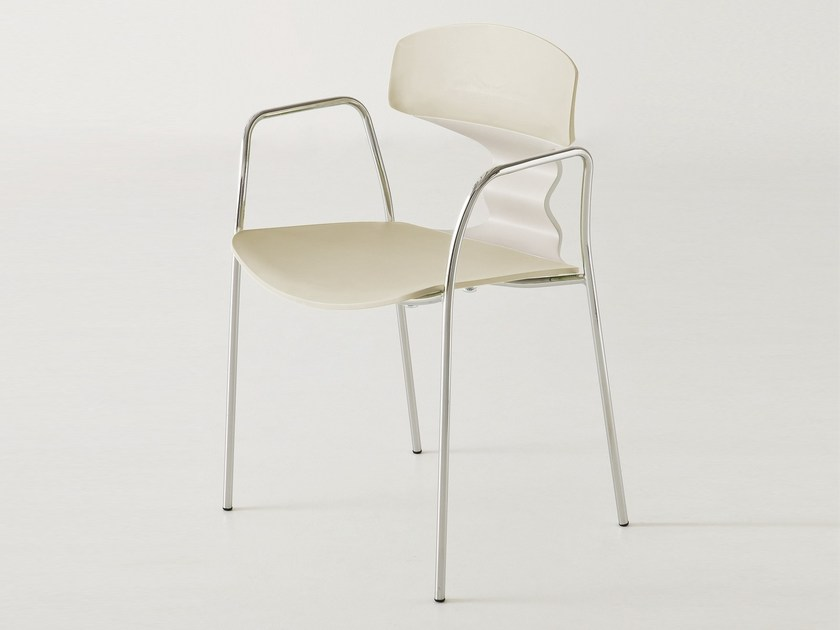 Stackable technopolymer waiting room chair with Armrests TOLO TB | Chair with armrests by GABER