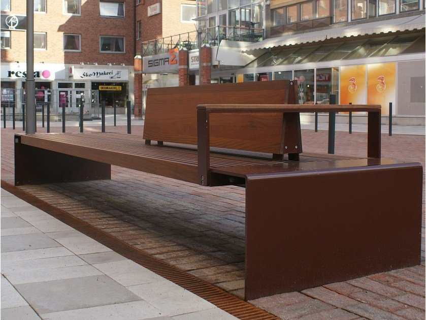 Steel Bench with armrests with back CITY WALK by Nola Industrier