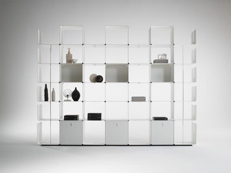 Libreria a giorno modulare in alluminio CWAVE by Dieffebi