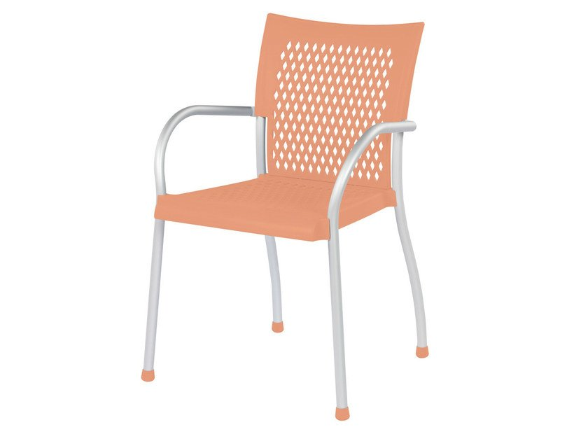 Stackable technopolymer chair with armrests FUTURA by GABER