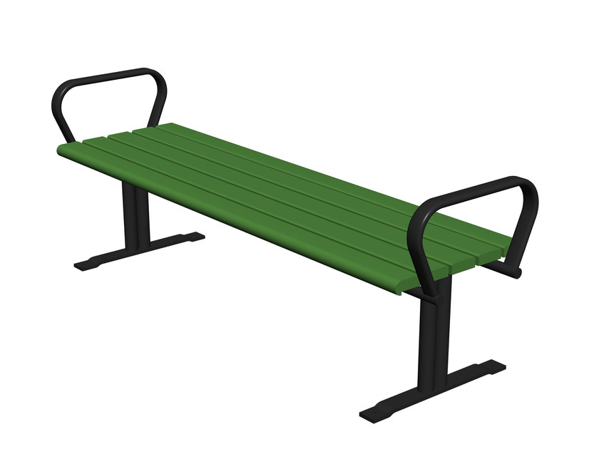 Backless steel and wood Bench with armrests KALMARSUND | Backless Bench by Nola Industrier