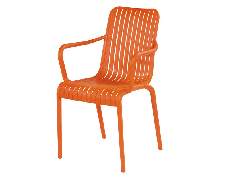 Stackable technopolymer chair with armrests OPEN by GABER