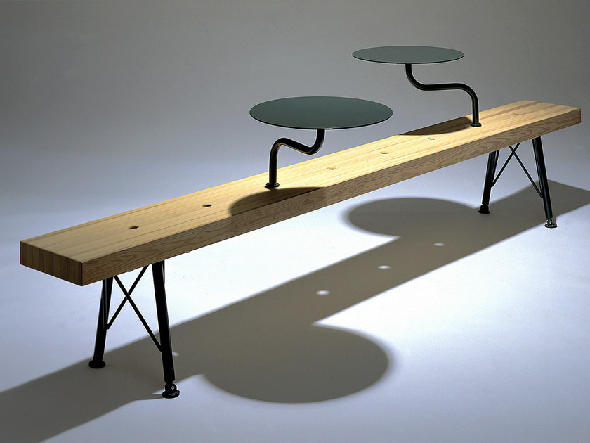 Backless steel and wood Bench KROKODIL by Nola Industrier
