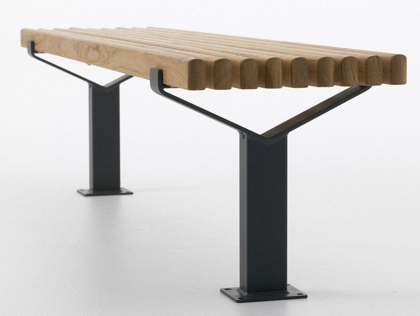 Backless steel and wood bench seating LUMA | Backless Bench by Nola Industrier