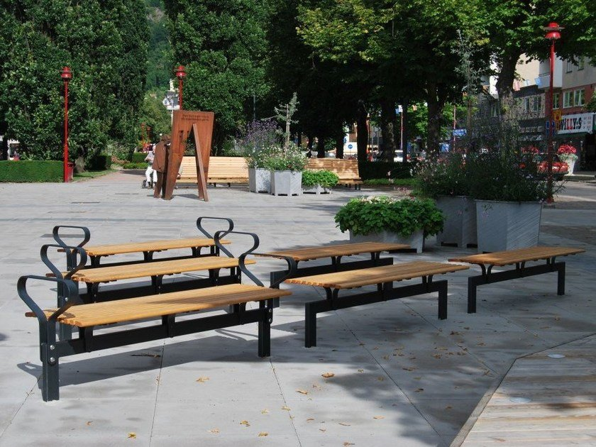 Backless steel and wood Bench NO2 | Backless Bench by Nola Industrier